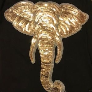 Other - Sequined elephant appliqué patch sew on shirt bag